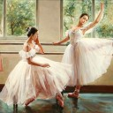 Две балерины на занятиях_56 х 76_х.,м._Частное собрание